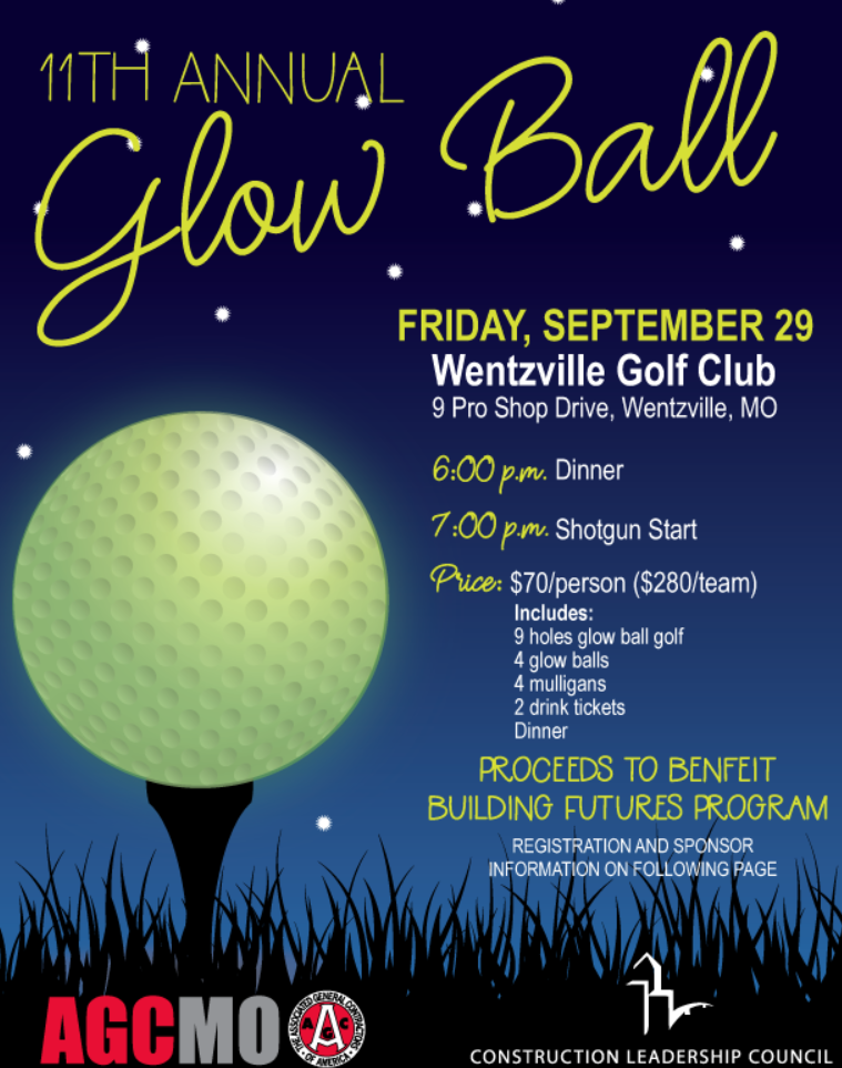 Construction Leadership Council of the Associated General Contractors (AGC) donates proceeds of Glow Ball Golf Tournament to Building Futures.